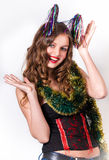 Guten Rutsch ins Neue Jahr des lachenden Mädchens Lizenzfreie Stockbilder