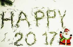 Guten Rutsch ins Neue Jahr-Design auf weißem Hintergrund mit Kiefer und Text Stockfotografie