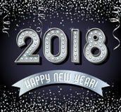 2018-guten Rutsch ins Neue Jahr-Design mit silbernen Glühlampebuchstaben Stockfoto