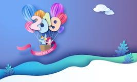 2019-guten Rutsch ins Neue Jahr-Designkarte mit Kindern lizenzfreie abbildung