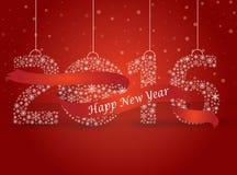 Guten Rutsch ins Neue Jahr 2016, die Zahl gemacht mit den Flocken eingewickelt im Rot Lizenzfreie Stockfotos