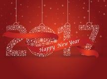 Guten Rutsch ins Neue Jahr 2017, die Zahl gemacht mit den Flocken eingewickelt im Rot Lizenzfreie Stockbilder