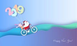 2019-guten Rutsch ins Neue Jahr-Entwurfskarte mit Sankt und Elfe stock abbildung