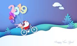 2019-guten Rutsch ins Neue Jahr-Entwurfskarte mit Sankt und Elfe vektor abbildung