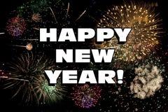 Guten Rutsch ins Neue Jahr Eve Holiday Fireworks Display Stockfoto