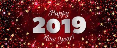 Guten Rutsch ins Neue Jahr-Fahne 2019 Stockbild