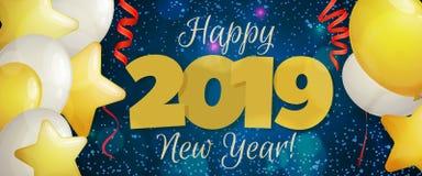 Guten Rutsch ins Neue Jahr-Fahne 2019 Stockfotos