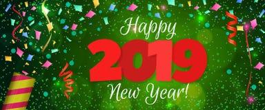 Guten Rutsch ins Neue Jahr-Fahne 2019 Lizenzfreies Stockfoto