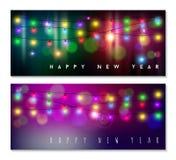 Guten Rutsch ins Neue Jahr-Fahne gesetzter heller bokeh Unschärfefeiertag Lizenzfreies Stockfoto