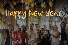 Guten Rutsch ins Neue Jahr-Feier-Gruß-Konzept 2017 Stockfotografie