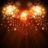 Guten Rutsch ins Neue Jahr-Feier-Hintergrundfeuerwerke Stockbild