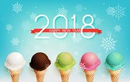 Guten Rutsch ins Neue Jahr-Feier 2018 mit bunten Eiscremearomen Stockbild