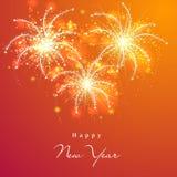 Guten Rutsch ins Neue Jahr-Feier 2015 mit Feuerwerken Lizenzfreie Stockfotos