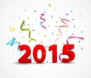 Guten Rutsch ins Neue Jahr-Feier mit Konfettis Lizenzfreie Stockfotos