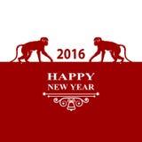 Guten Rutsch ins Neue Jahr-Feiertage 2016 Dekorations-Karte Schattenbildaffe auf rotem weißem Hintergrund Grußkarte, Einladung, B Lizenzfreie Stockfotografie