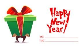 Guten Rutsch ins Neue Jahr-Feiertagsfeiergrußpostkartenfahnen-Karteneinladung, große enorme Geschenkboxüberraschung des Manngriff lizenzfreie abbildung