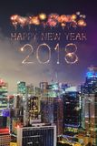 2018-guten Rutsch ins Neue Jahr-Feuerwerk Schein mit Stadtbild von Singapur Lizenzfreie Stockfotografie