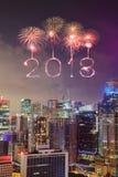 2018-guten Rutsch ins Neue Jahr-Feuerwerk Schein mit Stadtbild von Singapur Lizenzfreies Stockfoto