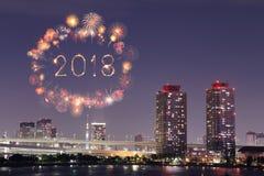 2018-guten Rutsch ins Neue Jahr-Feuerwerk Schein nachts, Odaiba, Tokyo, Jap Stockfotografie