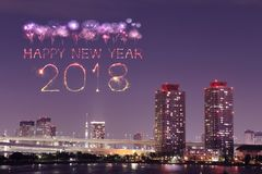 2018-guten Rutsch ins Neue Jahr-Feuerwerk Schein nachts, Odaiba, Tokyo, Jap Stockfoto