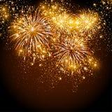 Guten Rutsch ins Neue Jahr-Feuerwerke Stockbild