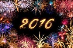 2016-guten Rutsch ins Neue Jahr-Feuerwerke Stockfoto