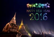 2016 guten Rutsch ins Neue Jahr-Feuerwerke, die über Sukhothai-histori feiern Stockbild
