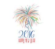 Guten Rutsch ins Neue Jahr-Feuerwerke 2016-Feiertags-Hintergrunddesign Stockbild