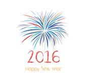 Guten Rutsch ins Neue Jahr-Feuerwerke 2016-Feiertags-Hintergrunddesign Stockfotografie