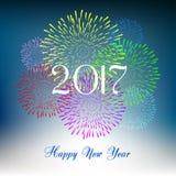 Guten Rutsch ins Neue Jahr-Feuerwerke 2017-Feiertags-Hintergrunddesign Lizenzfreies Stockfoto