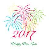 Guten Rutsch ins Neue Jahr-Feuerwerke 2017-Feiertags-Hintergrunddesign Stockfotos