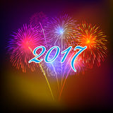 Guten Rutsch ins Neue Jahr-Feuerwerke 2017-Feiertags-Hintergrunddesign Lizenzfreie Stockfotos