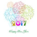 Guten Rutsch ins Neue Jahr-Feuerwerke 2017-Feiertags-Hintergrunddesign Stockbild