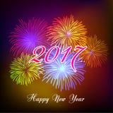 Guten Rutsch ins Neue Jahr-Feuerwerke 2017-Feiertags-Hintergrunddesign Lizenzfreie Stockfotografie
