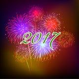 Guten Rutsch ins Neue Jahr-Feuerwerke 2017-Feiertags-Hintergrunddesign Lizenzfreie Stockbilder