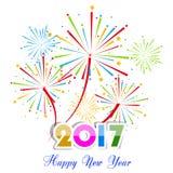 Guten Rutsch ins Neue Jahr-Feuerwerke 2017-Feiertags-Hintergrunddesign Stockfotografie