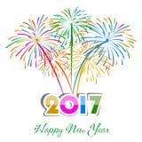 Guten Rutsch ins Neue Jahr-Feuerwerke 2017-Feiertags-Hintergrunddesign Stockfoto