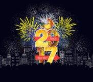 Guten Rutsch ins Neue Jahr-Feuerwerke 2017-Feiertags-Hintergrunddesign Stockbilder