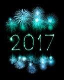 2017-guten Rutsch ins Neue Jahr-Feuerwerkswunderkerzen Stockbild
