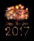 2017-guten Rutsch ins Neue Jahr-Feuerwerkswunderkerzen Stockfoto