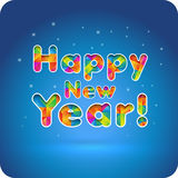 Guten Rutsch ins Neue Jahr! frohe mehrfarbige Buchstaben der Steigung 3d Schneiden Sie das Papier Stockfotos