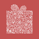 Guten Rutsch ins Neue Jahr-Geschenkpostkarten-Vektorillustration Stockfoto