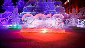 Guten Rutsch ins Neue Jahr 2016 geschrieben mit Eisbuchstaben Stockfotos