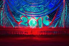 Guten Rutsch ins Neue Jahr 2016 geschrieben mit Eisbuchstaben Lizenzfreies Stockbild