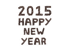 '2015 guten Rutsch ins Neue Jahr' geschrieben mit Kaffeebohnen Lizenzfreie Stockfotografie