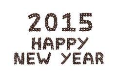'2015 guten Rutsch ins Neue Jahr' geschrieben mit Kaffeebohnen Stockbild