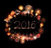 Guten Rutsch ins Neue Jahr 2016 geschrieben mit Scheinfeuerwerk Stockbild