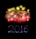 Guten Rutsch ins Neue Jahr 2016 geschrieben mit Scheinfeuerwerk Lizenzfreie Stockfotografie
