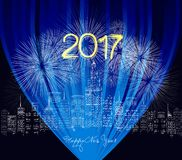 Guten Rutsch ins Neue Jahr 2017 geschrieben mit Scheinfeuerwerk und -neon Lizenzfreies Stockfoto