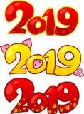 2019-guten Rutsch ins Neue Jahr-Gestaltungselemente Glückliches Chinesisches Neujahrsfest 2019 stockbilder